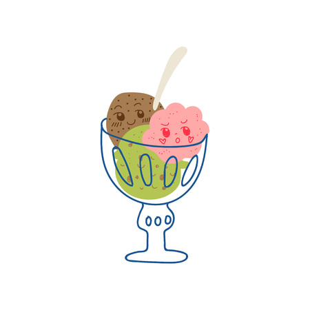 Cute Delicious Ice Cream Balls in Glass Bowl, Adorable Kawaii Sweet Dessert with Funny Face Vector Illustration on White Background. Ilustração