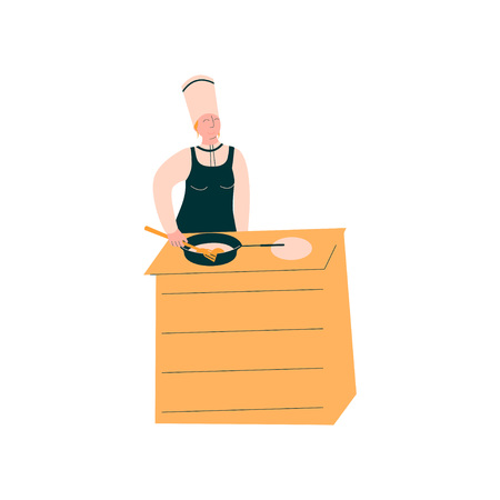 Female Cook Baking Pancakes, Professional Kitchener Character in Uniform Preparing Delicious Dish Vector Illustration on White Background.