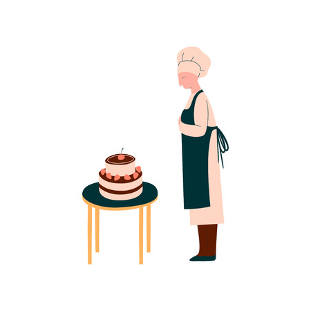 Female Cook Making and Decorating Cake, Professional Confectioner Character in Uniform Vector Illustration on White Background. 写真素材 - 124241921