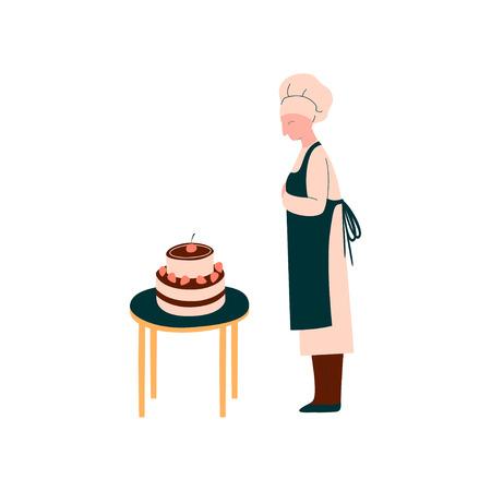 Köchin, die Kuchen, professionelle Konditorfigur in einheitlicher Vektor-Illustration auf weißem Hintergrund macht und dekoriert.