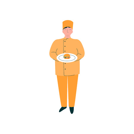 Male Chef Holding Freshly Prepared Burger on Plate, Professional Kitchener Character in Orange Uniform Vector Illustration on White Background.