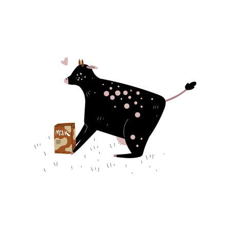 Spotted Cow with Milk Packaging, Dairy Cattle Animal Husbandry Breeding Vector Illustration on White Background. Standard-Bild - 124241929