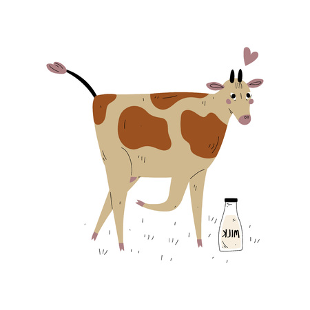 Spotted Cow with Glass Bottle of Milk, Dairy Cattle Animal Husbandry Breeding Vector Illustration on White Background.