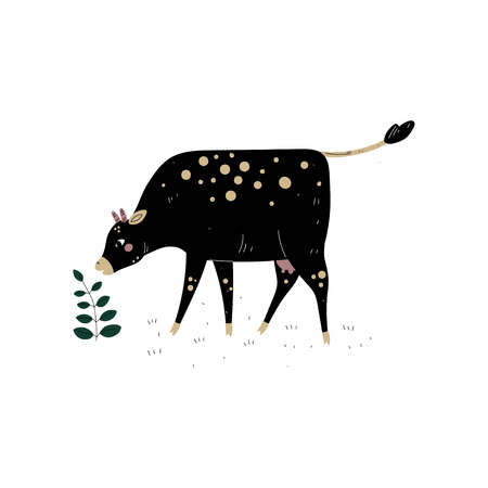 Black Cow Grazing on Meadow, Dairy Cattle Animal Husbandry Breeding Vector Illustration