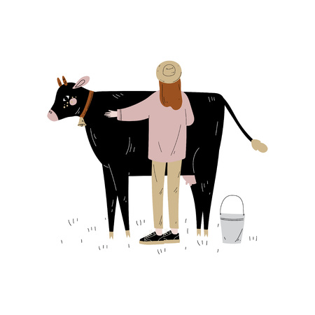 Woman Standing Next to Spotted Cow, Dairy Cattle Animal Husbandry Breeding Vector Illustration on White Background.