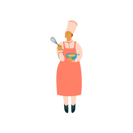 Female Cook Cooking in Restaurant Kitchen, Professional Kitchener Character in Uniform Preparing Delicious Dish with Whisk and Bowl Vector Illustration on White Background.