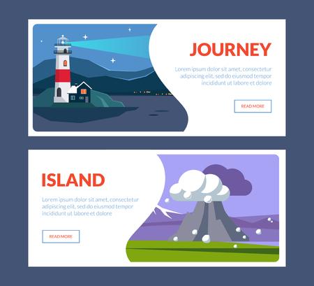 Journey Island Horizontal Banners Set, Travel Landscape with Landmarks, Nature Places, Summertime Holidays Adventure Vector Illustration, Web Design
