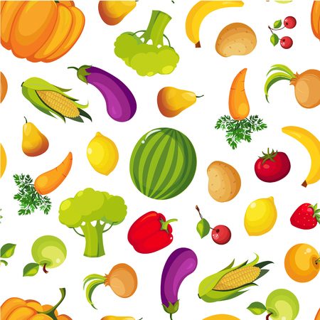 Colorful Farm Fresh Fruit and Vegetables Seamless Pattern, Healthy Food Vector Illustration Çizim
