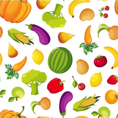 Modello senza cuciture di frutta e verdura fresca fattoria colorata, illustrazione vettoriale di cibo sano Healthy