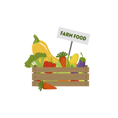Wooden Crate Full of Fresh Farm Vegetables, Organic Food, Farmers Market Design Element Vector Illustration on White Background. Stock Illustratie