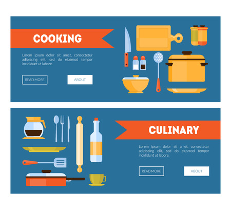 Cooking and Culinary Horizontal Banners Set with Kitchen Utensils for Cooking or Food Preparation Vector Illustration