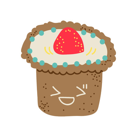 Happy Cute Delicious Muffin Cartoon Character, Adorable Kawaii Dessert with Cream and Strawberry Vector Illustration on White Background.