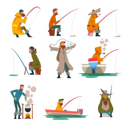 Fischer Angeln mit Angelrute und Kochen Suppe auf Lagerfeuer-Vektor-Illustration auf weißem Hintergrund.
