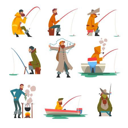 Fisherman Fishing with Fishing Rod and Cooking Soup on Bonfire Vector Illustration on White Background.