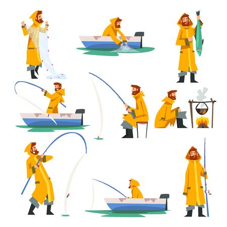 Pescatore pesca con rete e canna da pesca in barca, uomo che cucina sul falò illustrazione vettoriale su sfondo bianco. Vettoriali