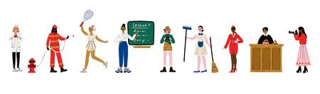 Set di donne di varie professioni, pasticcere, vigile del fuoco, giocatore di tennis, insegnante, scienziato, cameriera, hostess, giudice fotografo illustrazione vettoriale su sfondo bianco
