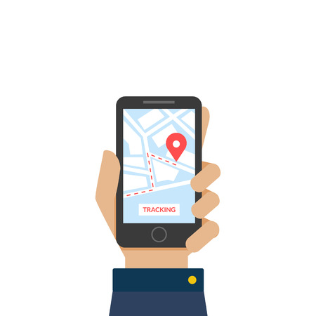 Hand Holding Smartphone with App, Delivery Tracking Service Vector Illustration on White Background.