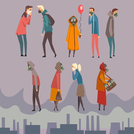Unhappy Men, Women and Children Wearing Protective Masks Walking in City, People Suffering from Air Pollution, Industrial Smog Vector Illustration in Flat Style