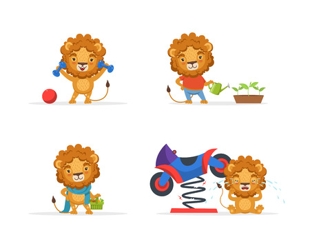 Cute Lion Character in Different Situations, Funny African Animal Cartoon Character Vector Illustration on White Background.