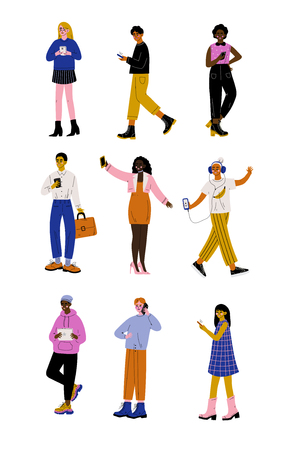 Trendy People with Gadgets Set, Young Men and Women Using Hi Tech Technologies Vector Illustration on White Background.