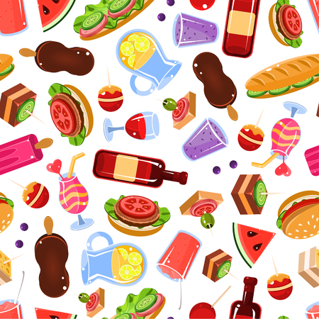 Picnic Food Seamless Pattern, Design Element Can Be Used for Wallpaper, Packaging, Textile, Web Page Vector Illustration