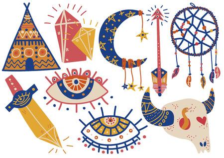 Boho Style Symbols Set, Indian Tent, Buffalo Skull, Dream Catcher, Eye, Arrow, Dagger Vector Illustration on White Background.