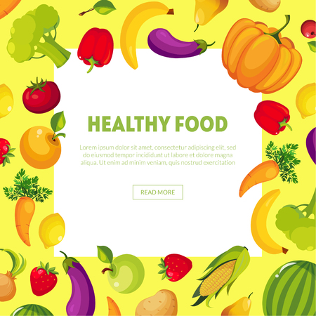 Healthy Food Banner with Space for Text, Fresh Vegetables and Fruits Vector Illustration