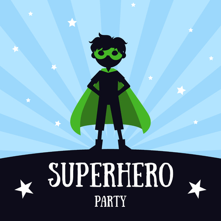 Superhero Party Banner, Cute Boy in Green Superhero Costume and Mask, Birthday Invitation, Landing Page Template Vector Illustration