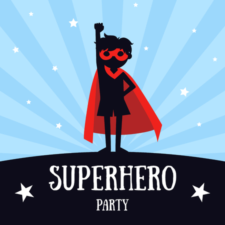 Superhero Party Banner, Cute Boy in Red Superhero Costume and Mask, Birthday Invitation, Landing Page Template Vector Illustration,  イラスト・ベクター素材