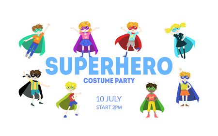 Superhero Costume Party Banner, Cute Boys and Girls in Superhero Costumes and Masks, Birthday Invitation, Landing Page Template Vector Illustration
