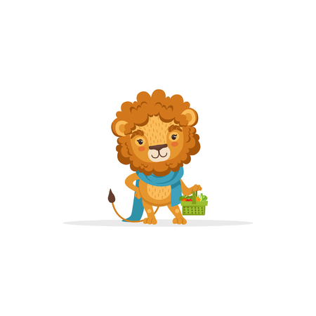 Cute Lion Gardener Character Holding Basket of Fresh Vegetables, Funny African Animal Cartoon Character Vector Illustration on White Background.