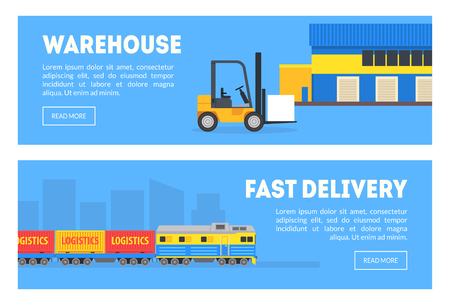 Warehouse, Fast Delivery Banners Set, Commercial Shipping Transportation, Cargo Tracking Service Vector Illustration Ilustrace
