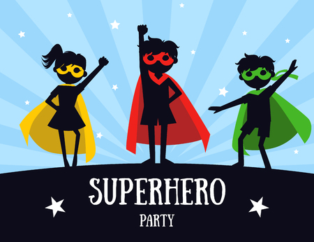Superhero Party Banner, Cute Kids in Superhero Costumes and Masks, Birthday Invitation, Landing Page Template Vector Illustration Фото со стока - 119607708