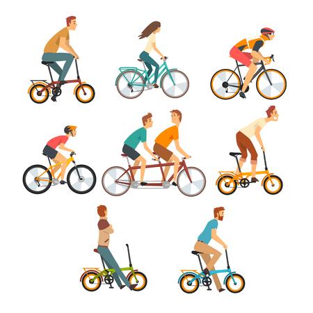 Persone in sella a biciclette, uomini e donne su biciclette di vari tipi illustrazione vettoriale su sfondo bianco.