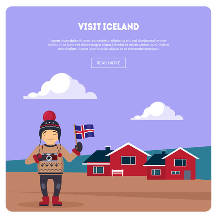Visit Iceland Banner, Landscape with Little Houses and Happy Traveler Vector Illustration, Web Design