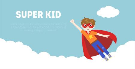 Super Kid Banner, Cute Boy in Superhero Costume and Mask Flying in Sky Vector Illustration, Web Design