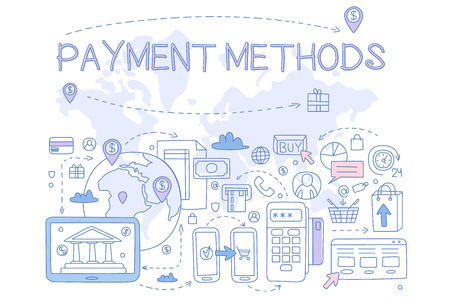 Payment methods set, credit card, mobile app, atm and terminal, money transfer, internet bank, design element for banner, poster, brochure, flyer, advertising hand drawn vector Illustrations isolated on a white background.