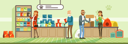 People shopping for their pets at pet shop, visitors buying food products and medicaments vector Illustration in flat style, web design