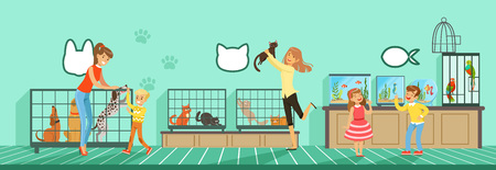 People buying pets from pet store Illustration in flat style, web design