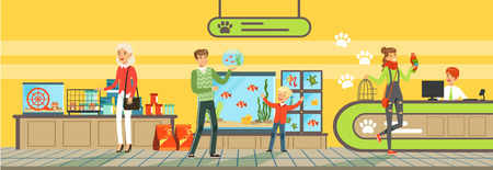 People buying pets, food products, accessories and medicaments from pet store Illustration in flat style, web design