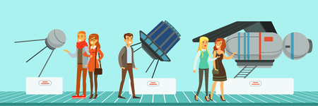 People at science exhibition, museum visitors looking at space satellites vector Illustration in flat style, web design