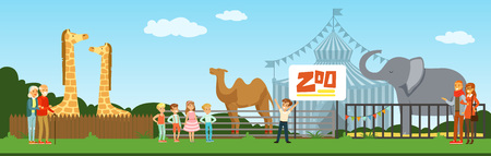 People visiting zoo, kids watching animals at excursion vector Illustration in flat style, web design