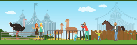 People visiting zoo and watching animals at excursion vector Illustration in flat style, web design