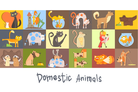 Cute funny domestic animals characters set, cat, dog, rat, parrot, fish vector colorful Illustrations, cartoon style