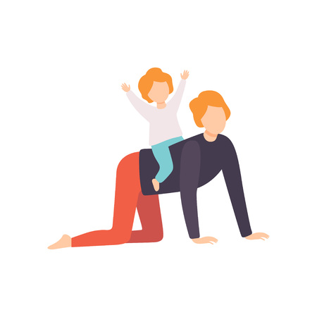 Cute Little Son Riding on His Fathers Back, Dad and His Kid Having Good Time Together Vector Illustration on White Background. Banque d'images - 124143159
