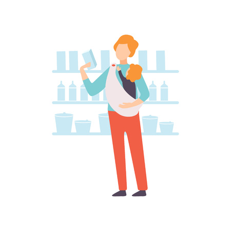 Father Carrying Baby in Sling While Shopping in Supermarket, Parent Taking Care of His Child Vector Illustration