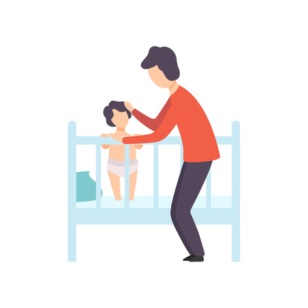 Father Putting His Kid to Bed, Parent Taking Care of His Child Vector Illustration on White Background.