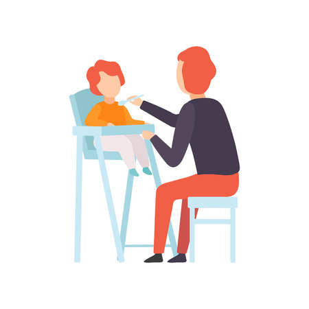 Father Feeding Baby Who is Sitting in Highchair, Parent Taking Care of His Child Vector Illustration on White Background. Standard-Bild - 124143395