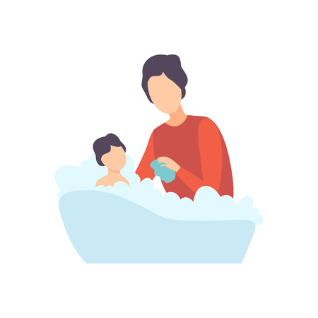 Father Bathing Baby in Bathtub, Parent Taking Care of His Child Vector Illustration on White Background. Illustration