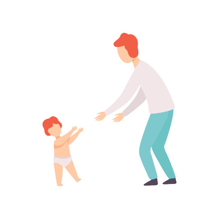 Toddler Baby Taking First Steps to His Father, Parent and Kid Having Good Time Together Vector Illustration on White Background.